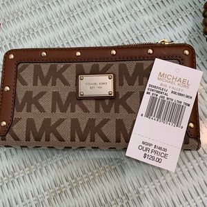 Michael kors gold studded brown wallet